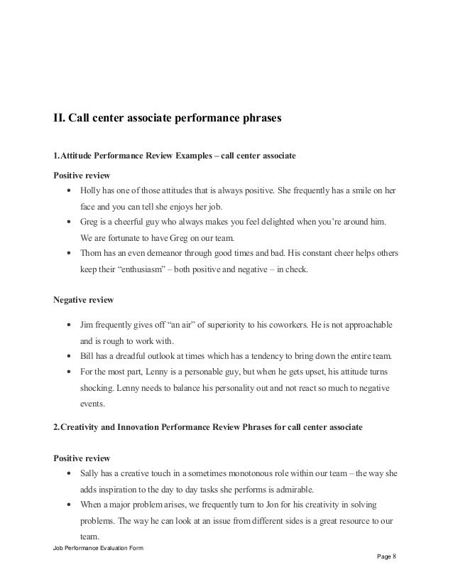 example employee performance review phrases