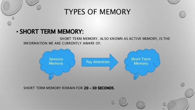 example for short term memory