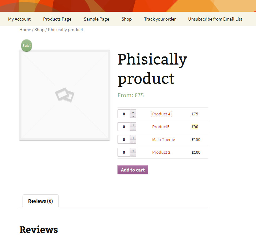 example of grouped products woocommerce