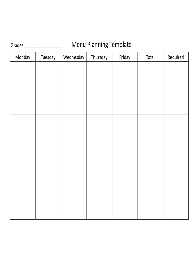 plan and cost basic menus example