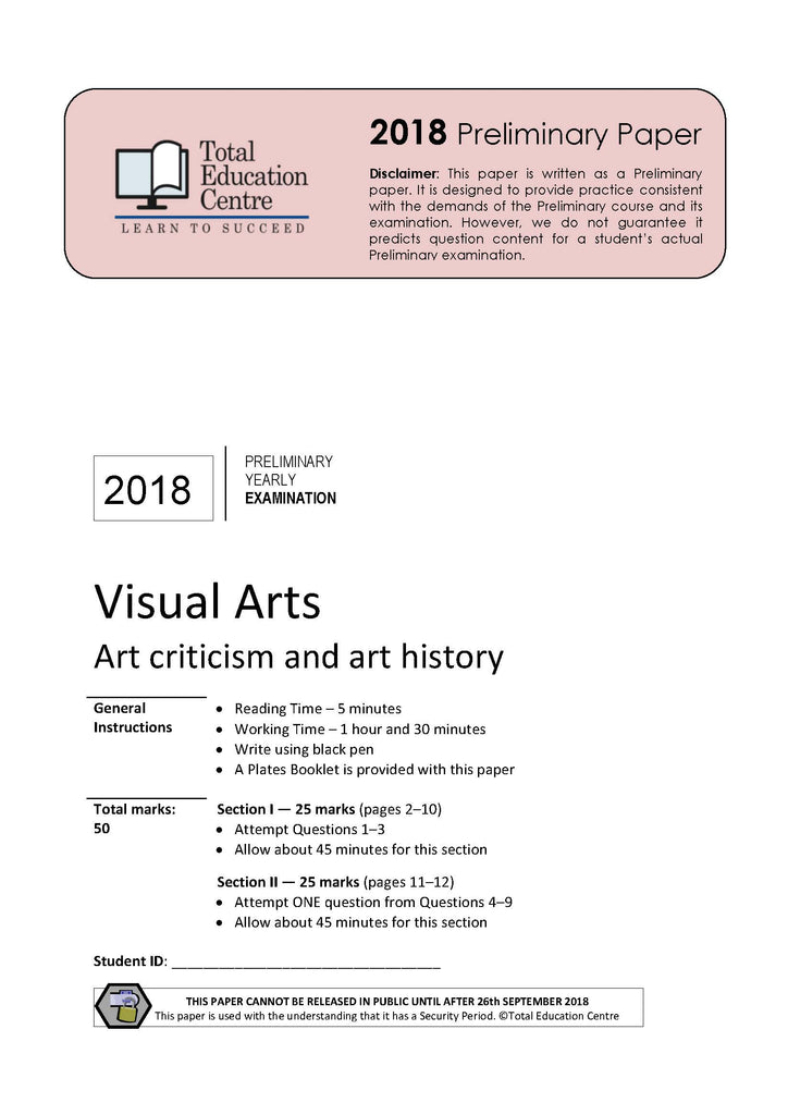 visual arts trial papers example answers