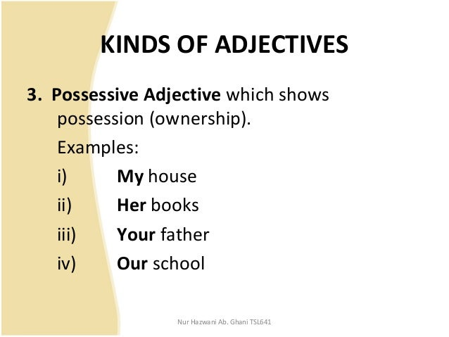 how many kinds of adjective with example