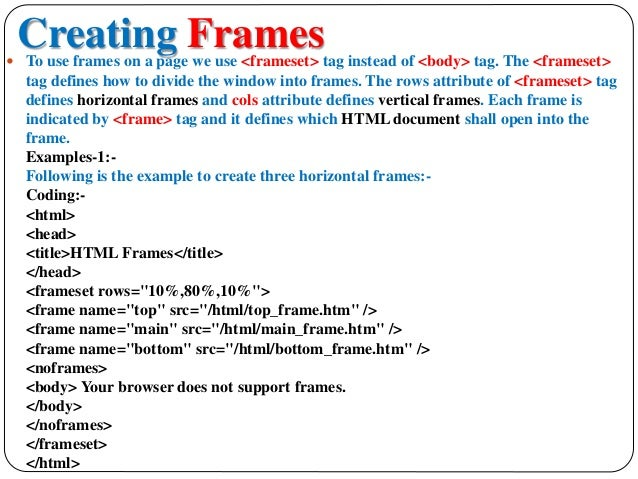 creating frames in html example