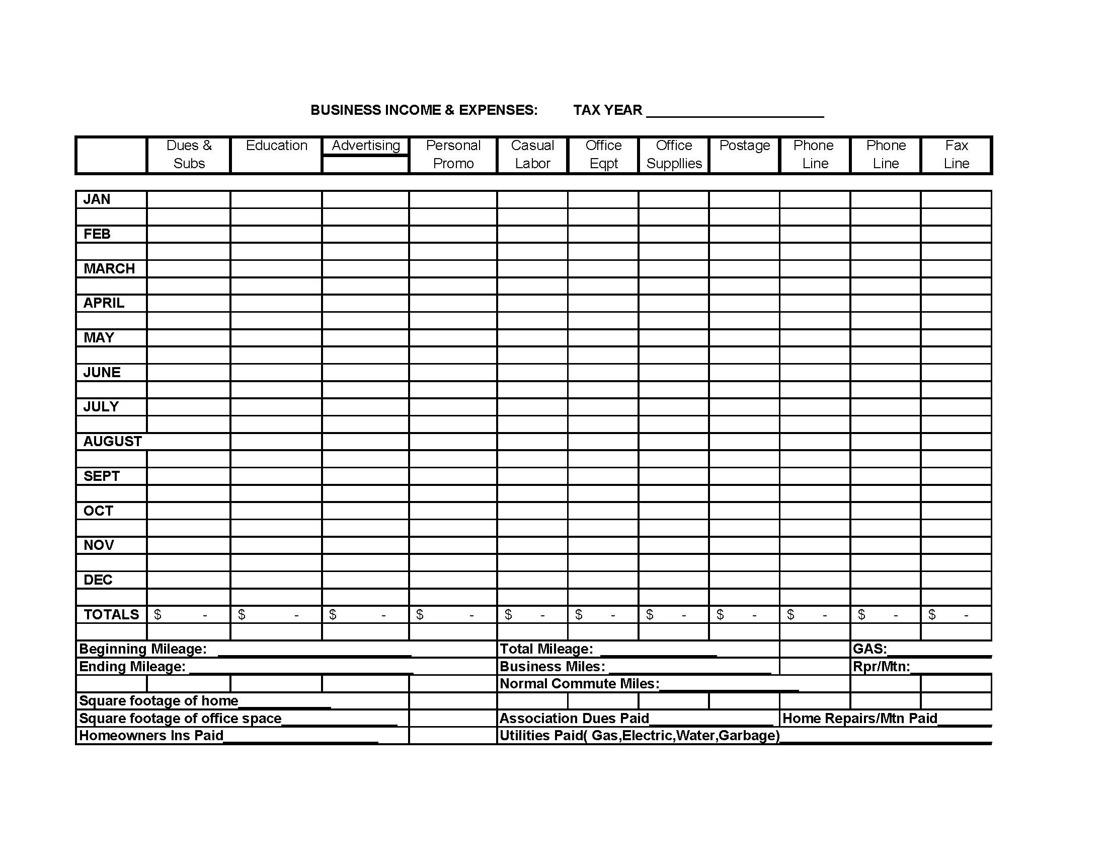 revenue and expense budget example