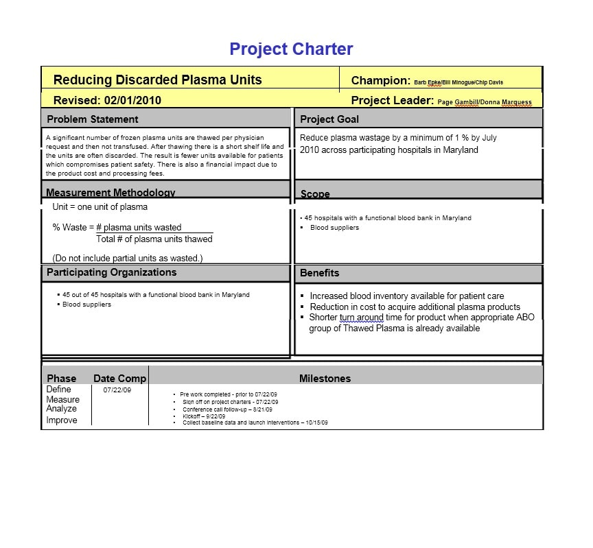 project on a page example