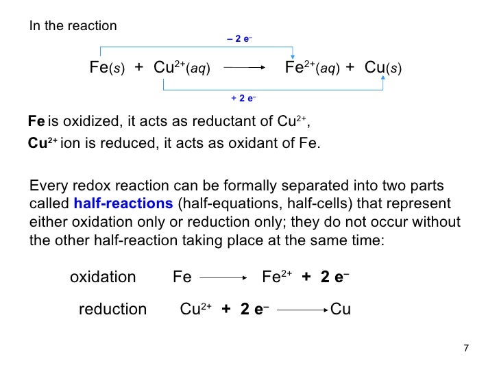 example of oxidation reduction equation
