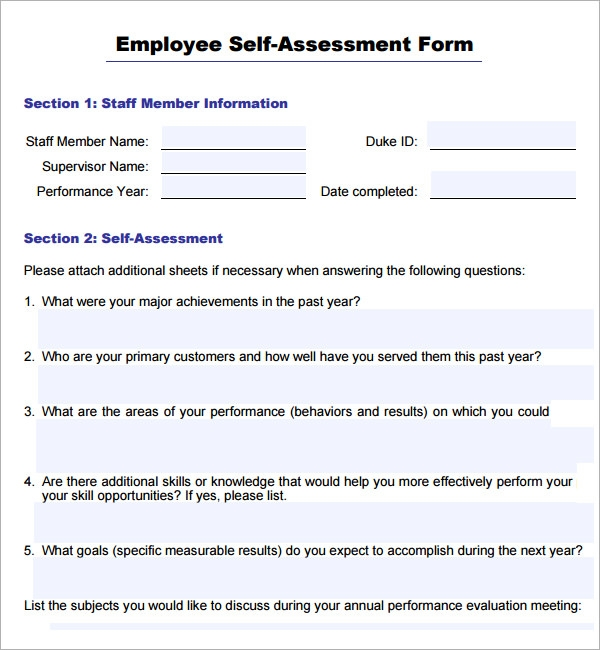 example of self evaluation summary