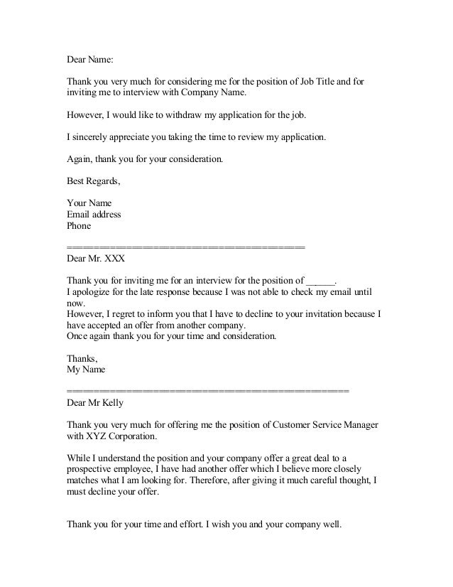 decline job offer email example