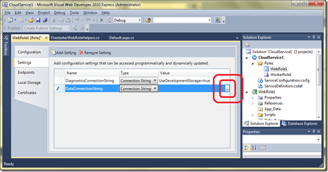 azure web role worker role example
