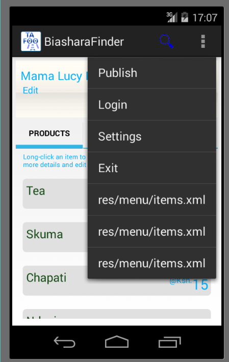 android checkable menu item example