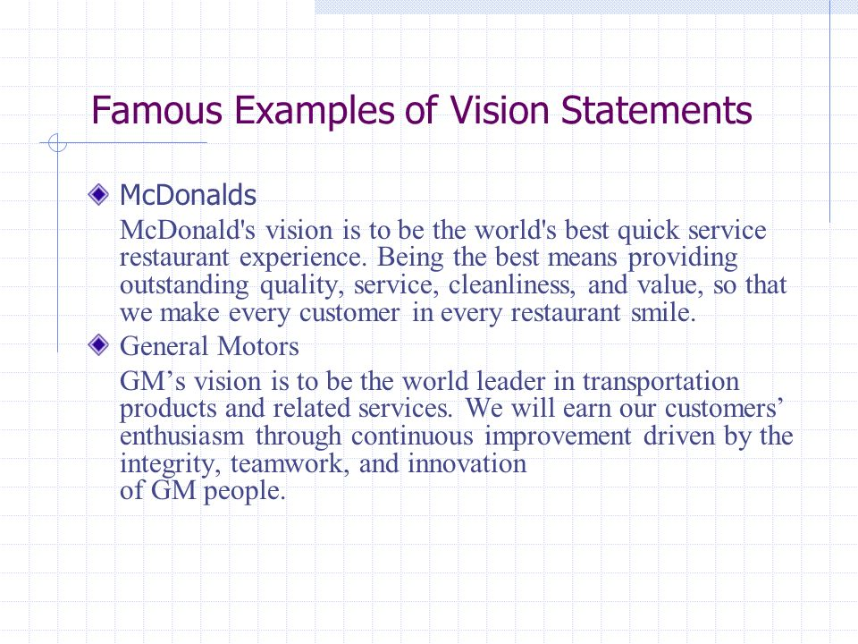 mission and vision restaurant example