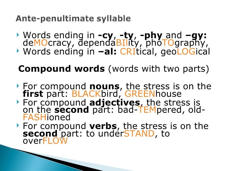 10 example of word stress