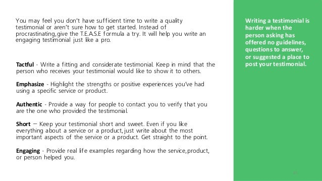 example testimonial about a person