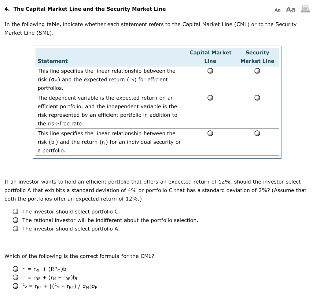capital asset pricing model example questions