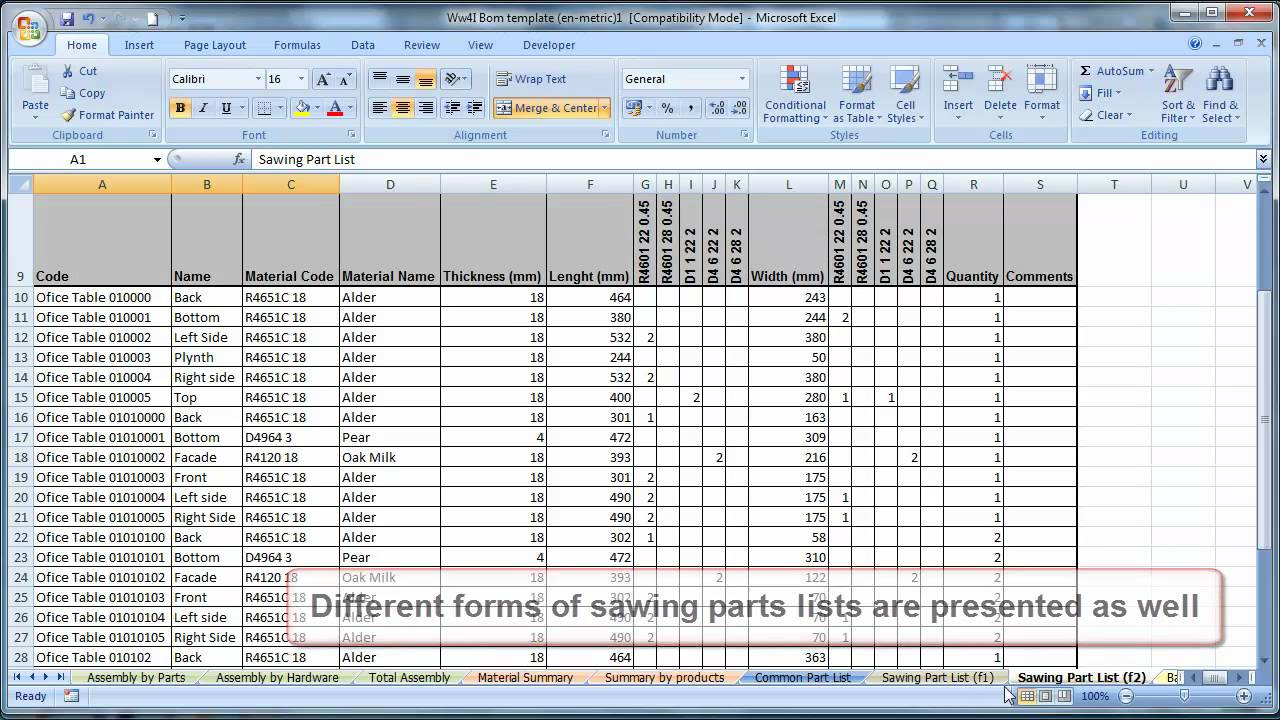 multi level bill of materials example