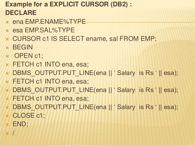 dbms_output.put_line example db2