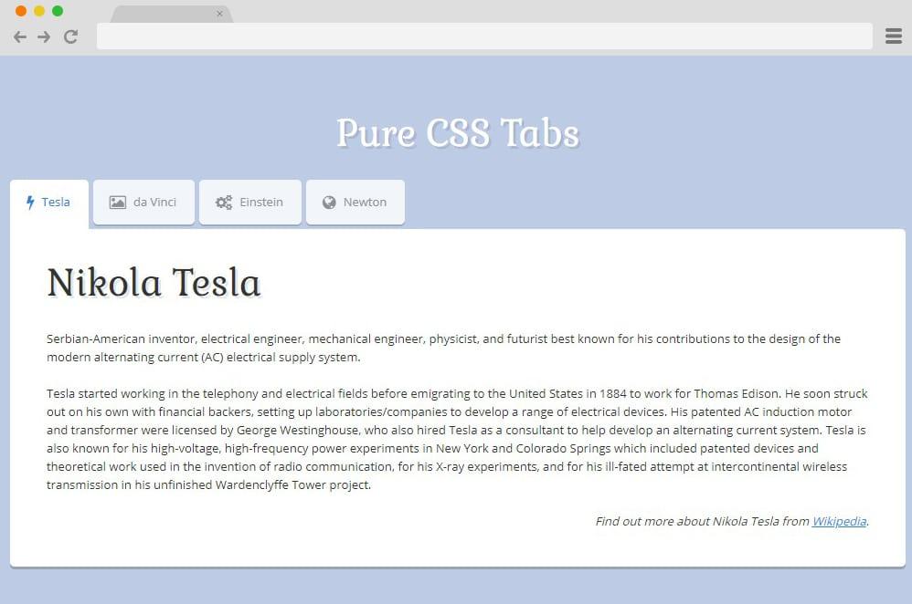simple css tab menu example
