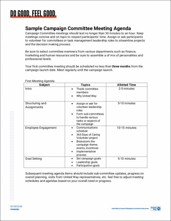 example agenda for committee meeting