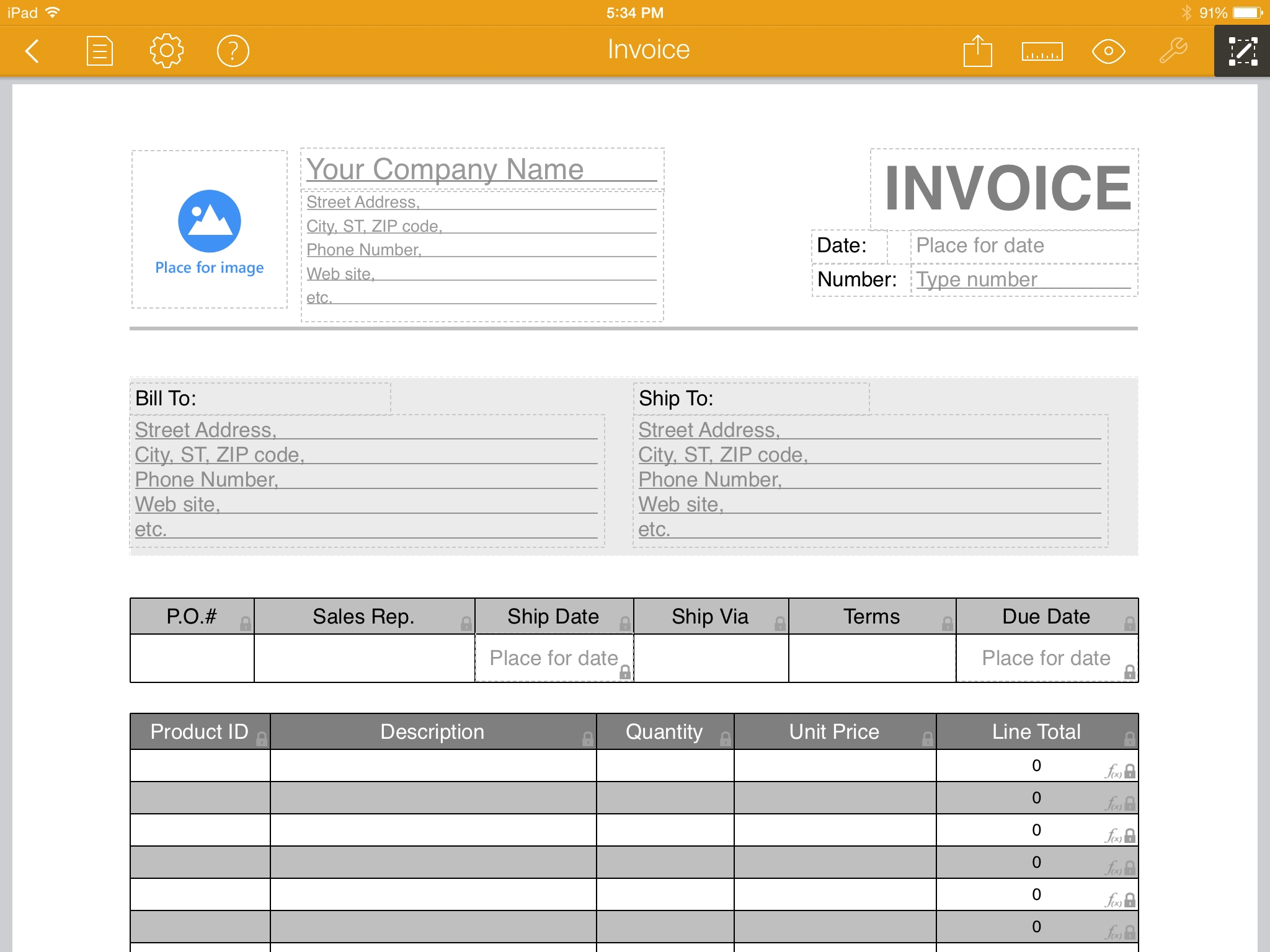 example of filled out invoice