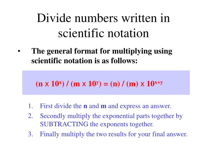example of multiplying numbers written in scientific notation