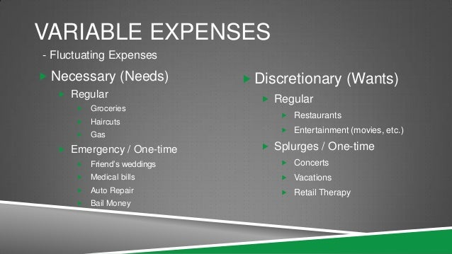 variable and fixed expenses to provide the example