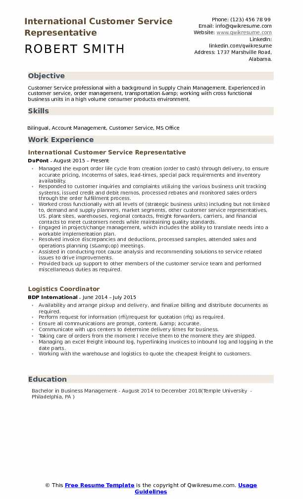 functional resume example customer service