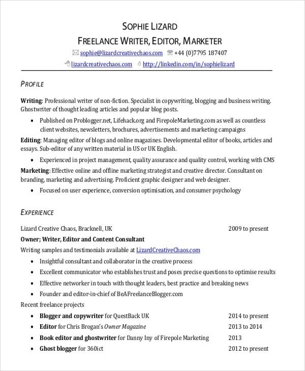 how to list freelance work on resume example