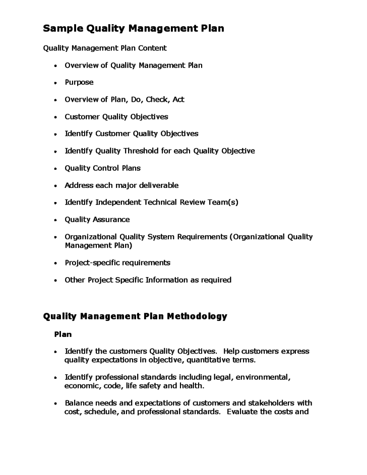 project quality management strategy example
