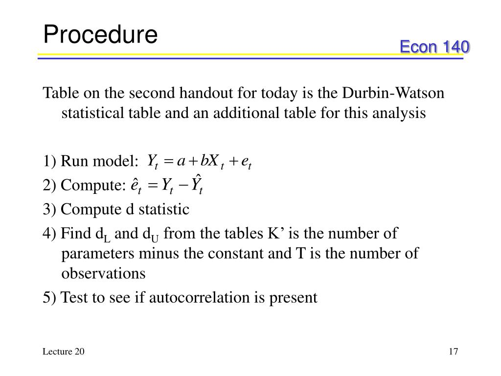 testing for autocorrelation with durbin watson d test and example